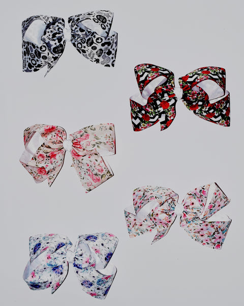 9in Printed Ribbon Chunky Bows (More options) - Gabskia