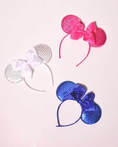 Sequin Ears Headband w/Chunky Bow - Gabskia