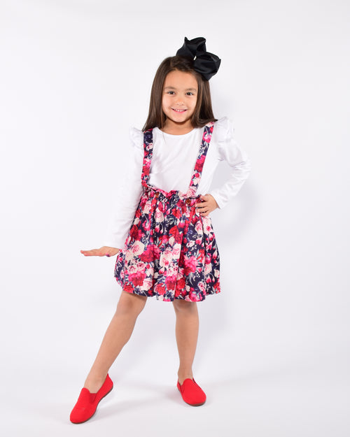 Navy Floral 2pc  Suspender Skirt Set - Gabskia
