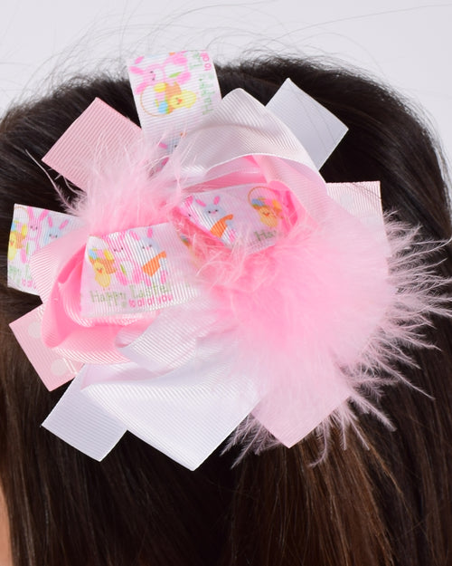 Happy Easter  6in Pink Marabou Boutique Bow - Gabskia