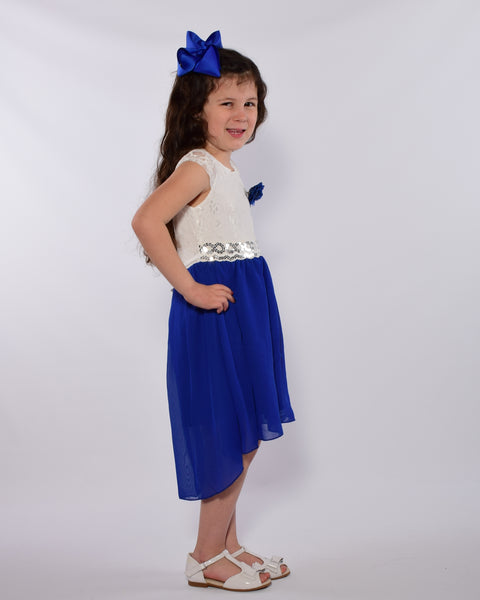 The Lovely  Lace Hi-Lo Chiffon Dress - Royal Blue - Gabskia