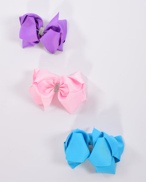 8in Double Loop Chunky Bow w/Rhinestone Center (18 available colors) - Gabskia