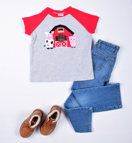 Farm on Red Stripes Boy Shirt