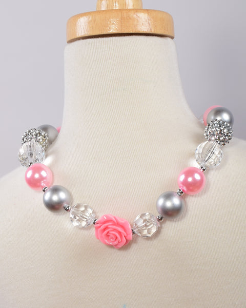 Silver and Pink Chunky Necklace - Gabskia