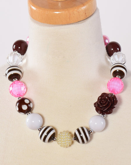Turquoise and Pink Chunky Necklace
