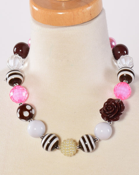 Pink, Brown and White Chunky Necklace - Gabskia