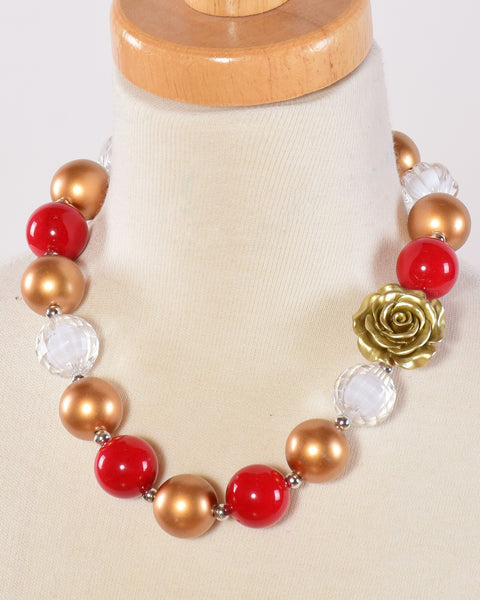 Red and Gold Chunky Necklace