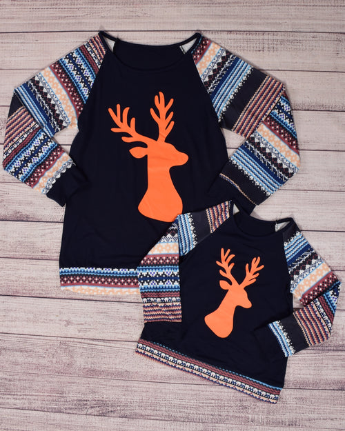Navy and Stripes w/Orange Moose Mommy and Me Top - Gabskia