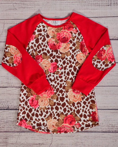 Tan Leopard and Red Floral Top - Gabskia
