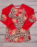 Tan Leopard and Red Floral Top