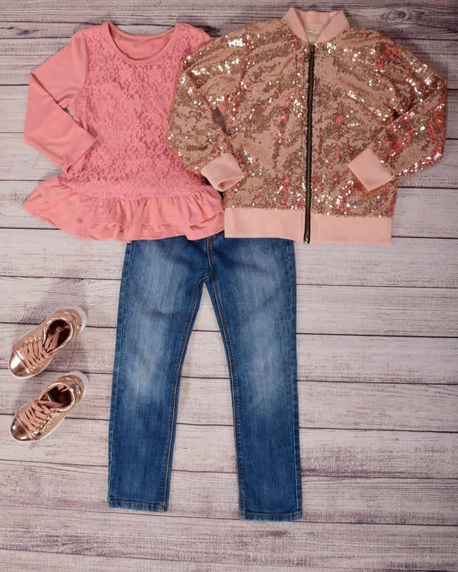 Sequin Bomber Jacket - Rose Gold