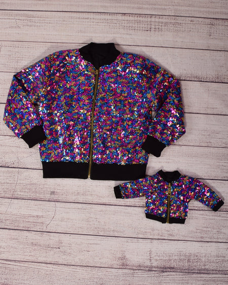 Sequin Bomber Jacket - Silver