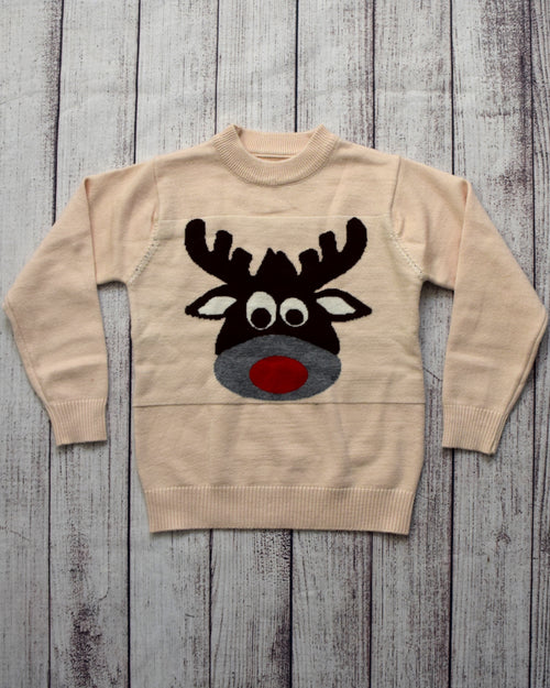 Red Nose Beige Unisex Sweater - Gabskia