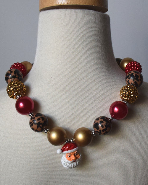 Red, Leopard and Santa Chunky Necklace - Gabskia