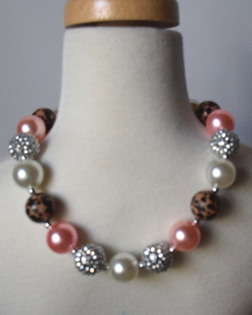 Pink and Leopard Chunky Necklace - Gabskia