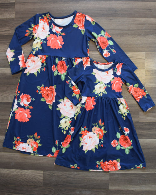 Blue Floral Mommy and Me Dress (Sold Separately) - Gabskia