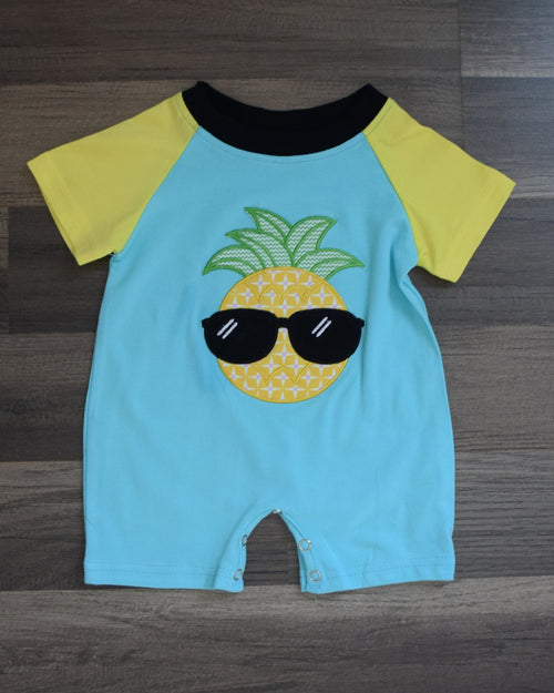 Pineapple with Shades Short Sleeve Romper - Gabskia