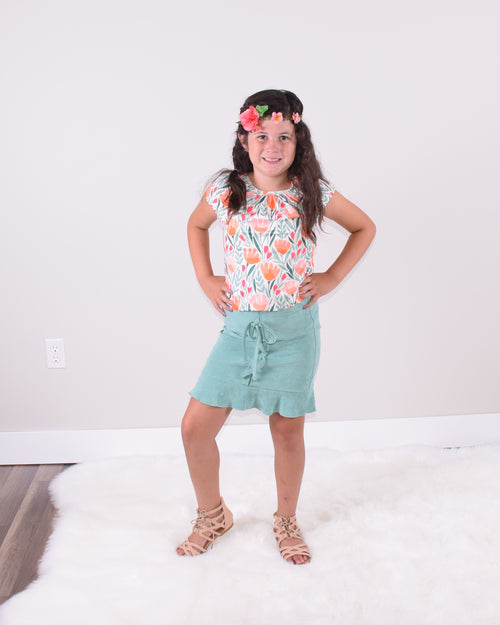 The Maya Floral 2pc Skirt Set - Jade