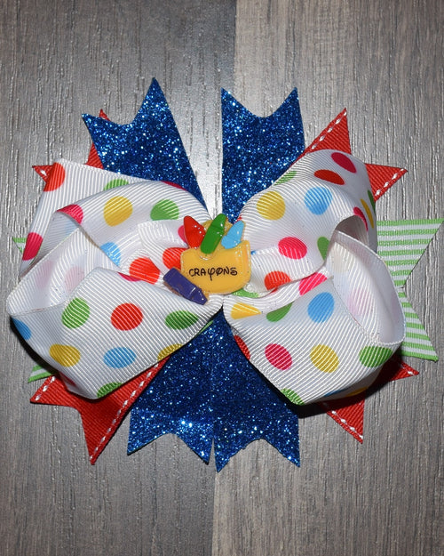 Polka Dots & Crayons 5.5in Boutique Bow