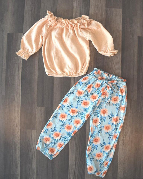 Peach Floral 2pc Crop and Joggers Style Set
