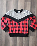 Buffalo Plaid and Silver Sequin Pullover