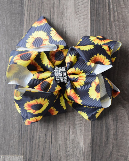 Sunflower 8in Double Loop Bow w/Rhinestone Center