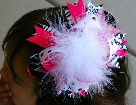 Zebra and Damask Boutique Bow - Shocking Pink