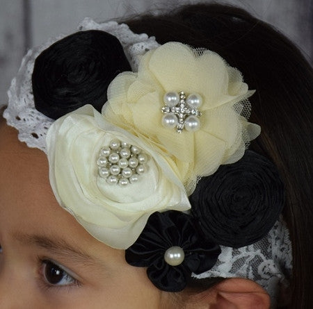 Black and Beige Cluster Headband - Gabskia