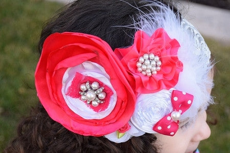 Hot Pink and White Feather Vintage Headband - Gabskia