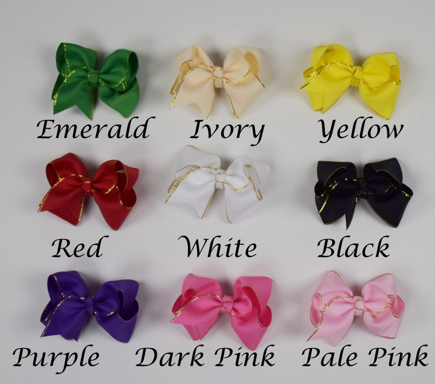 3.5in Gold Edge Chunky Bows (9 colors)