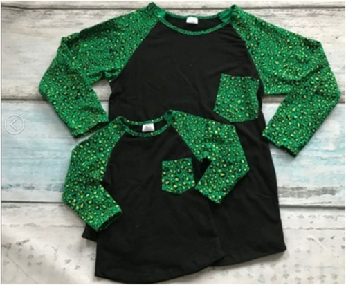 Black w/Green Sleeves Mommy and Me Top - Gabskia