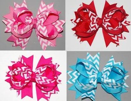 4.5 - 5in Chevron Boutique Bow (More Colors) - Gabskia