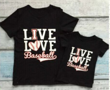 Live, Love, Baseball Mommy and Me Tops
