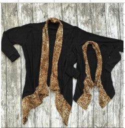Black Cardigan w/Leopard Trim Mommy and Me