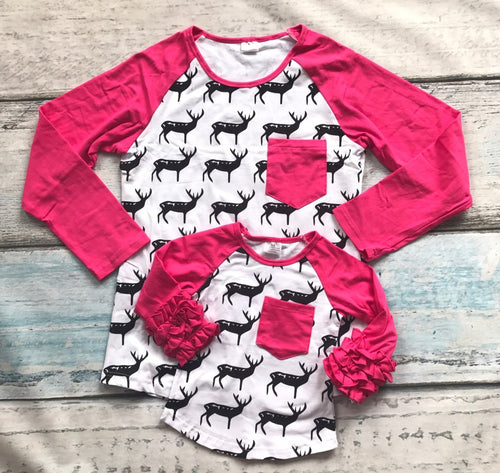 Black and White Deer w/Hot Pink Sleeves Mommy and Me Tops - Gabskia