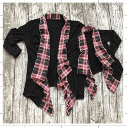 Black Cardigan w/Plaid Trim Mommy and Me - Gabskia