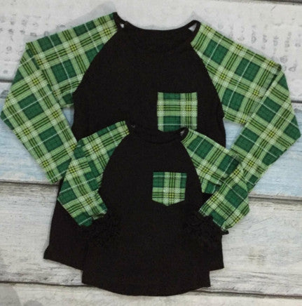 Black w/Green Plaid Sleeves Mommy and Me Top