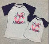 Jesus is My Anchor Mommy and Me Short Sleeve Tops - Gabskia
