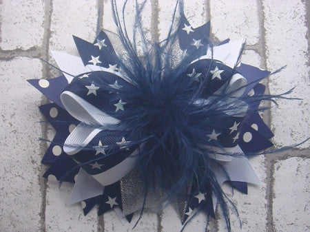 Navy and White Stars with Ostrich Feather 6in Boutique Bow