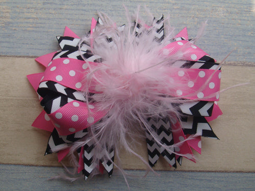 Bubble Pink Polka w/Black Chevron 6in Ostrich Feather Boutique Bow