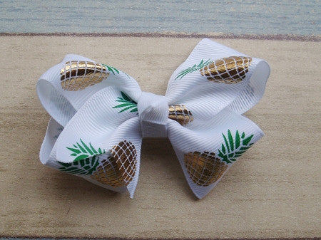 Metallic Pineapple 3in Chunky Bow - Gabskia