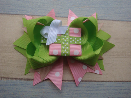 Pastel Chevron and Dots 5.5 Marabou Boutique Bow