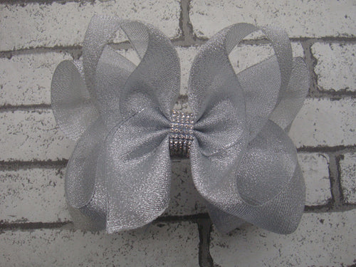 Metallic 6in Bow w/Rhinestone Center (more colors)