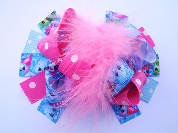 Pink and Light Blue Shopkins 6in Marabou Boutique Bow