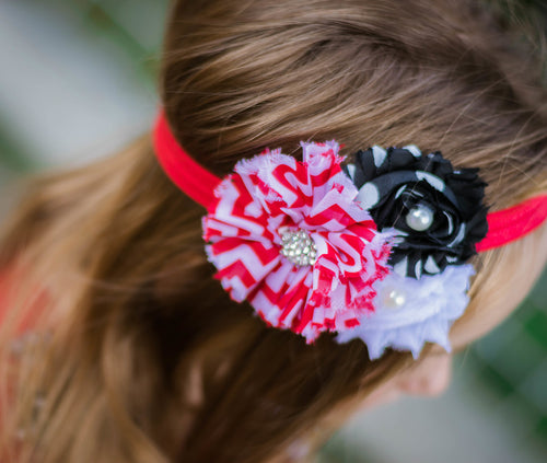 Red, Black and White Headband