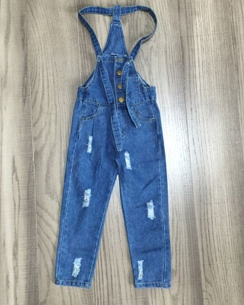 Distressed Denim Overalls - Gabskia