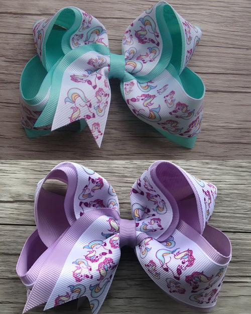 Double Ribbon Unicorn 6in Bows