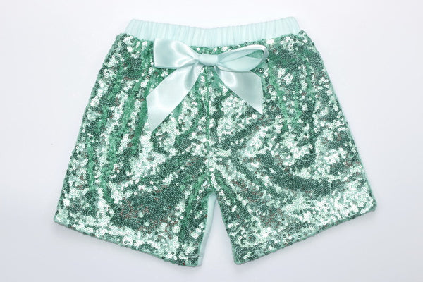 Sequin Shorts - Aqua - Gabskia