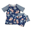 Blue Floral w/Stripe Raglan Mommy and Me Top (Sold Separately) - Gabskia