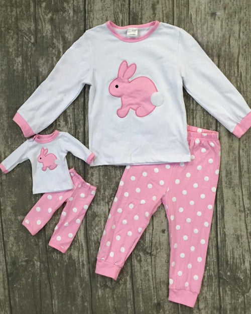 Pink Polka Bunny Dolly and Me Set - Gabskia